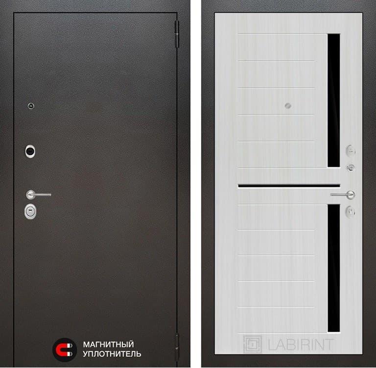 Входная металлическая дверь Лабиринт Сильвер 2 (Антик темное серебро / Сандал белый)