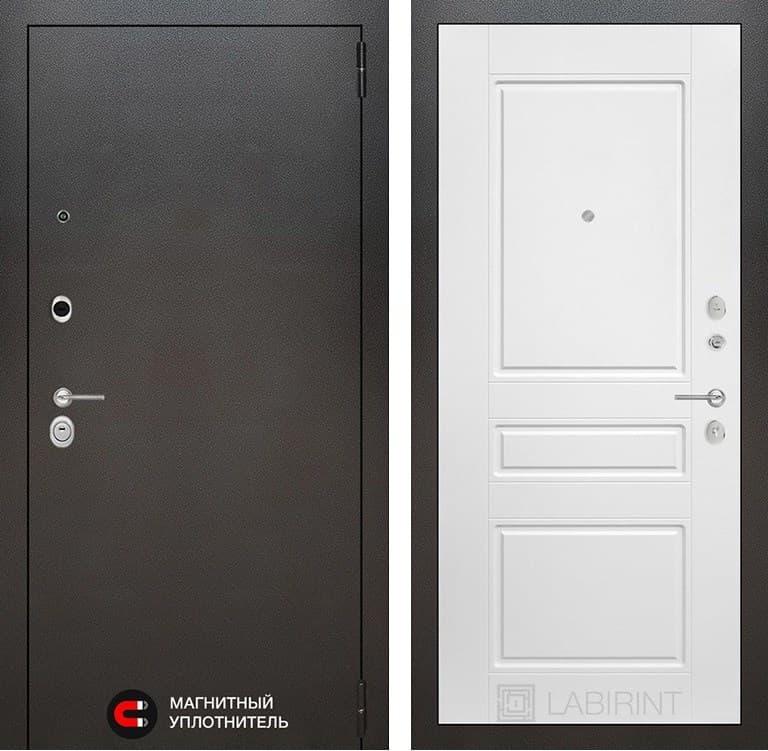Входная металлическая дверь Лабиринт Сильвер 3 (Антик темное серебро / Белый софт)