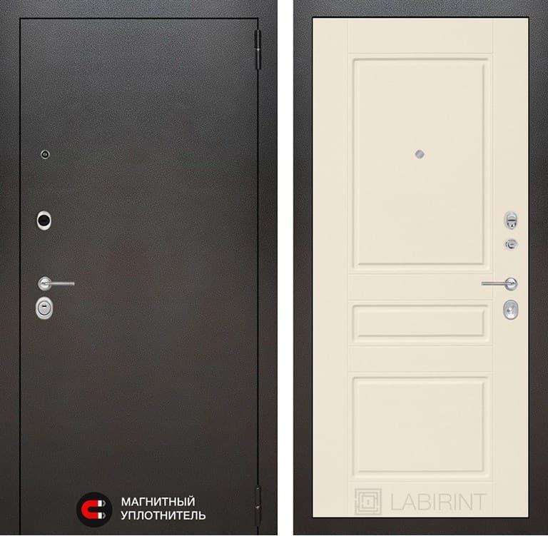 Входная металлическая дверь Лабиринт Сильвер 3 (Антик темное серебро / Крем софт)