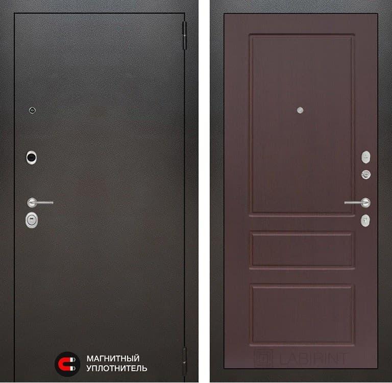 Входная металлическая дверь Лабиринт Сильвер 3 (Антик темное серебро / Орех премиум)