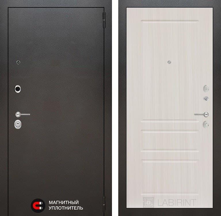 Входная металлическая дверь Лабиринт Сильвер 3 (Антик темное серебро / Сандал белый)