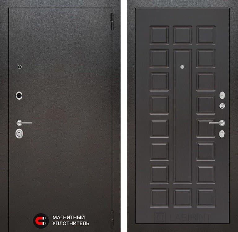 Входная металлическая дверь Лабиринт Сильвер 4 (Антик темное серебро / Венге)