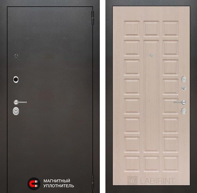 Входная металлическая дверь Лабиринт Сильвер 4 (Антик темное серебро / Дуб беленый)