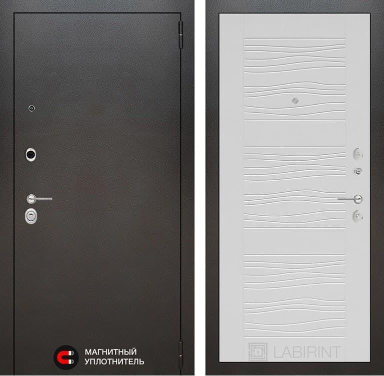 Входная металлическая дверь Лабиринт Сильвер 6 (Антик темное серебро / Белое дерево)