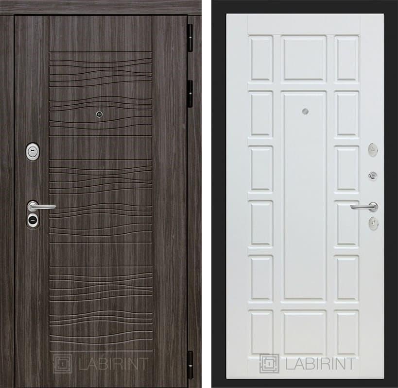 Входная металлическая дверь Лабиринт Сканди 12 (Дарк Грей / Белое дерево)