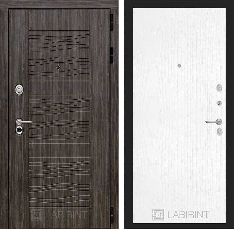 Входная металлическая дверь Лабиринт Сканди 7 (Дарк Грей / Белое дерево)