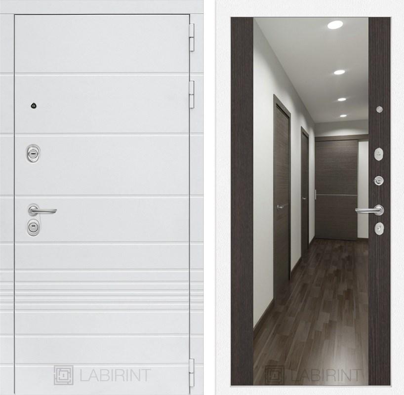 Входная металлическая дверь Лабиринт Трендо Зеркало Максимум (Белый камень / Венге)