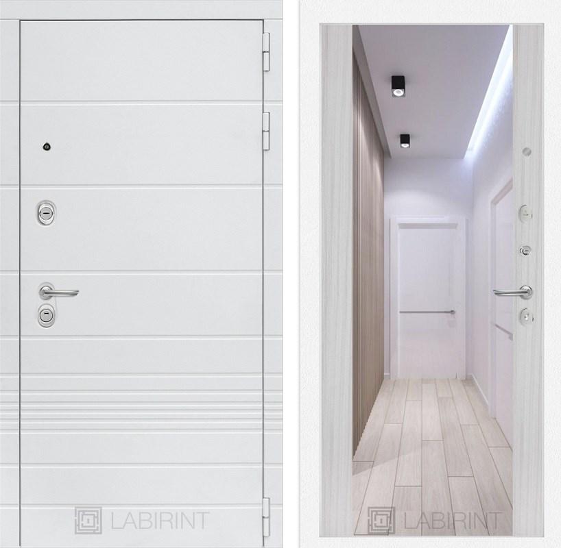 Входная металлическая дверь Лабиринт Трендо Зеркало Максимум (Белый камень / Сандал белый)