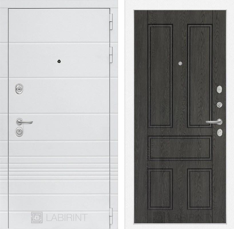 Входная металлическая дверь Лабиринт Трендо 10 (Белый камень / Дуб филадельфия графит)