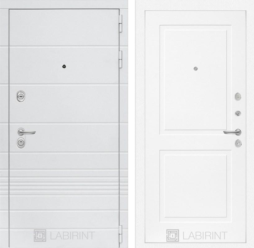 Входная металлическая дверь Лабиринт Трендо 11 (Белый камень / Белый софт)