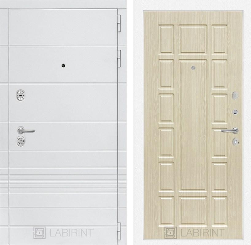 Входная металлическая дверь Лабиринт Трендо 12 (Белый камень / Дуб белёный)