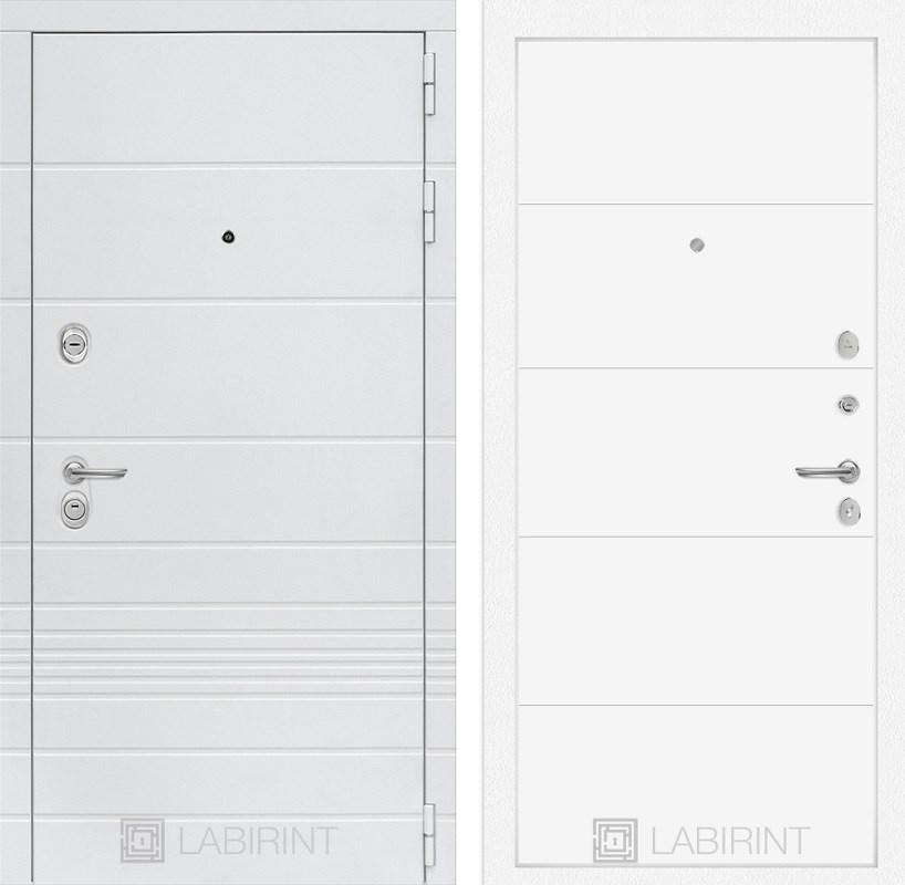 Входная металлическая дверь Лабиринт Трендо 13 (Белый камень / Белый софт)