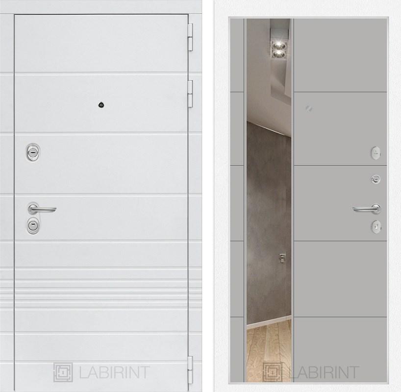 Входная металлическая дверь Лабиринт Трендо 19 Зеркало (Белый камень / Грей софт)