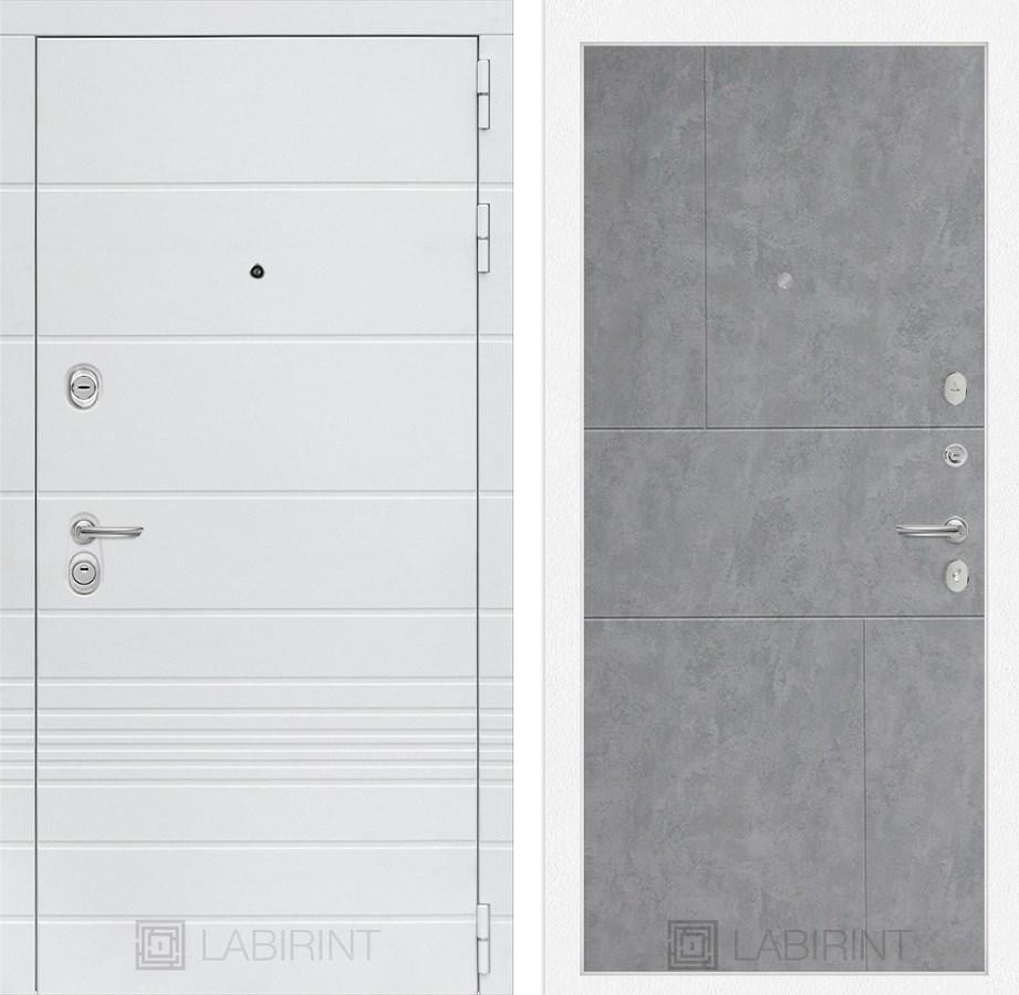 Входная металлическая дверь Лабиринт Трендо 21 (Белый камень / Бетон светлый)
