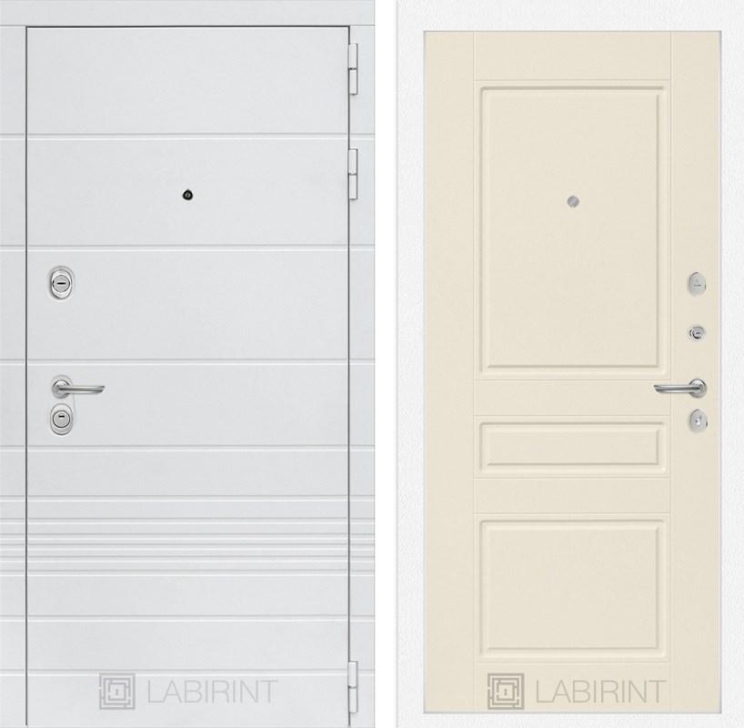 Входная металлическая дверь Лабиринт Трендо 3 (Белый камень / Крем софт)