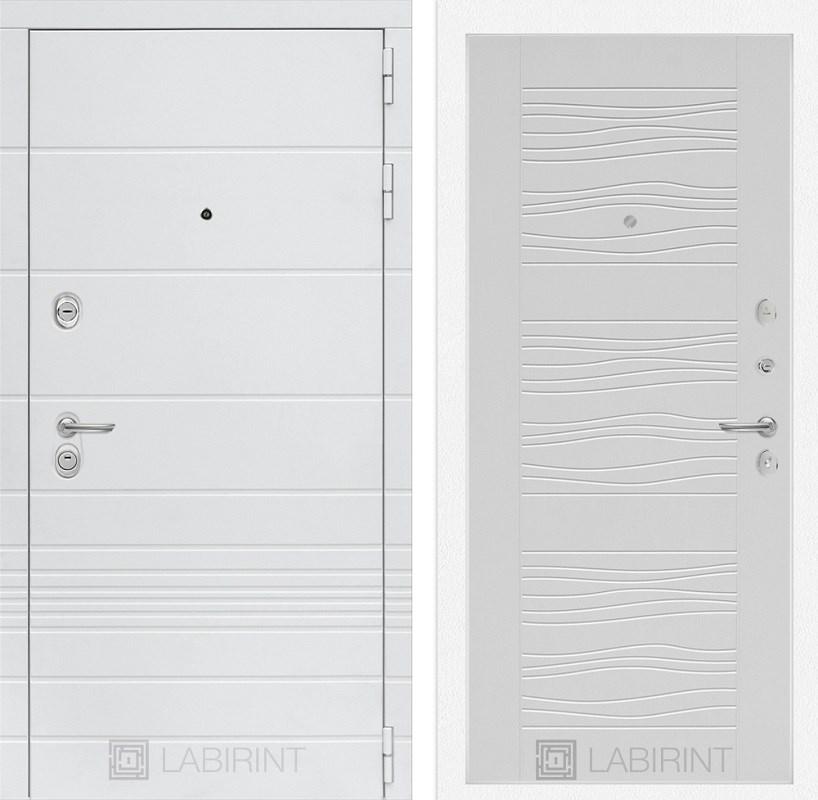 Входная металлическая дверь Лабиринт Трендо 6 (Белый камень / Белое дерево)