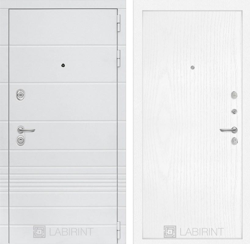 Входная металлическая дверь Лабиринт Трендо 7 (Белый камень / Белое дерево)