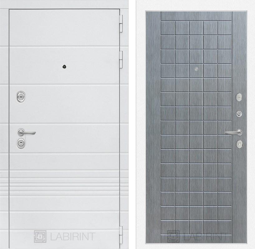 Входная металлическая дверь Лабиринт Трендо 9 (Белый камень / Лен сильвер грей)