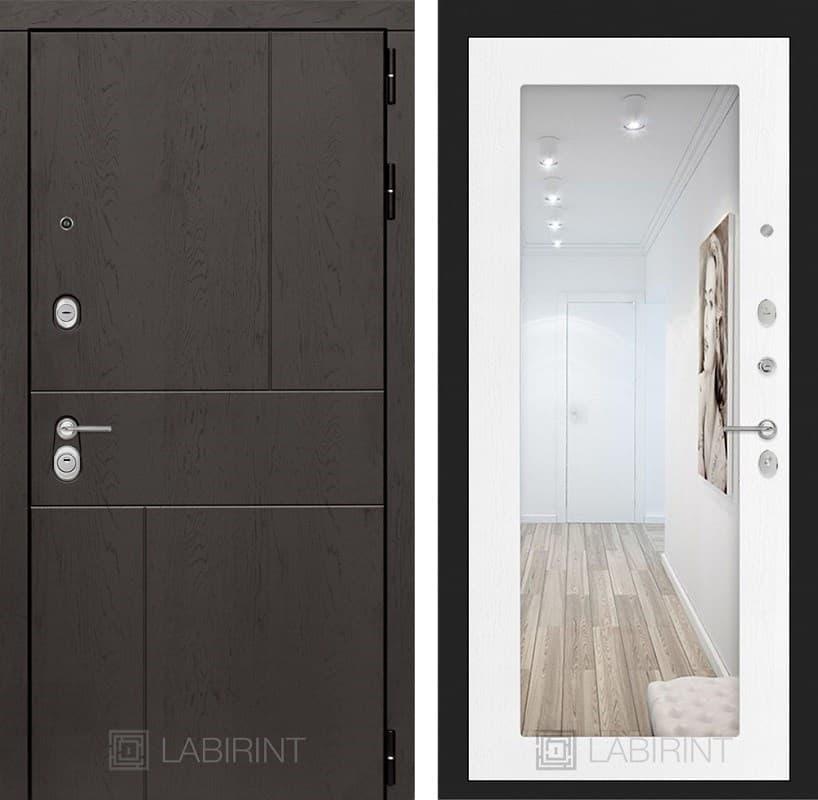 Входная металлическая дверь Лабиринт Урбан с Зеркалом 18 (Дуб горький шоколад / Белое дерево)