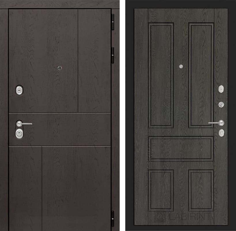 Входная металлическая дверь Лабиринт Урбан 10 (Дуб горький шоколад / Дуб филадельфия графит)