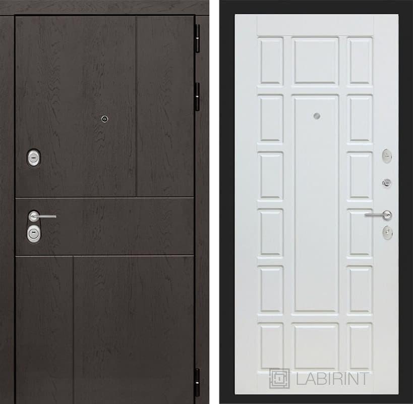 Входная металлическая дверь Лабиринт Урбан 12 (Дуб горький шоколад / Белое дерево)