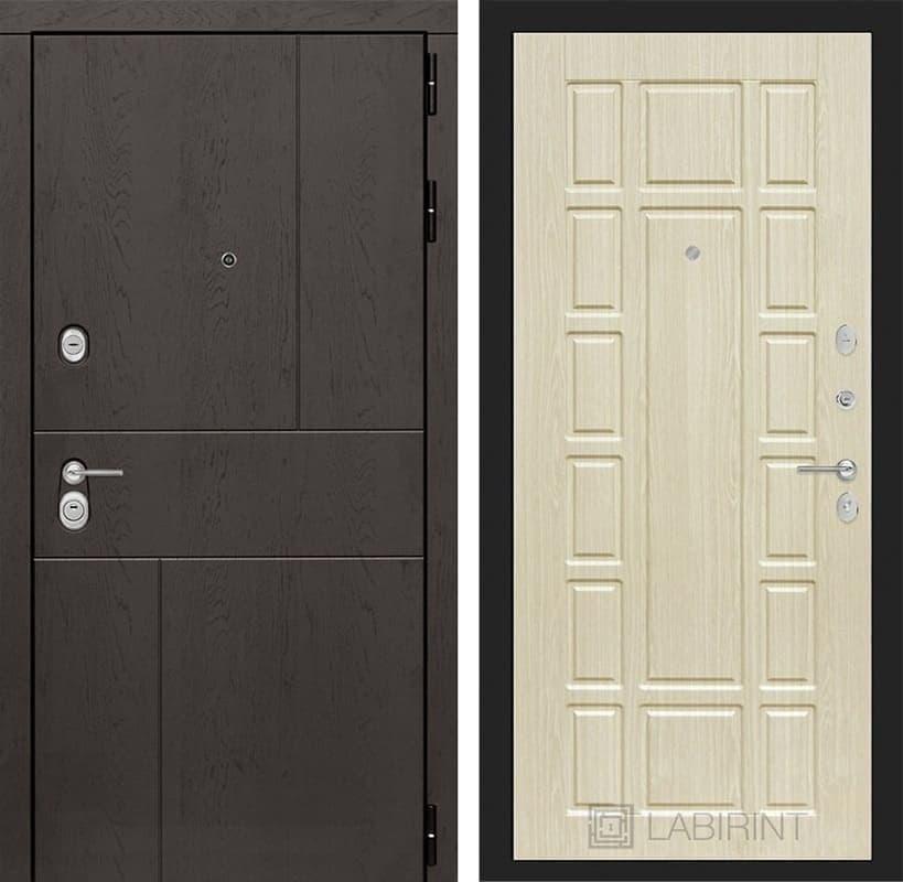 Входная металлическая дверь Лабиринт Урбан 12 (Дуб горький шоколад / Дуб беленый)