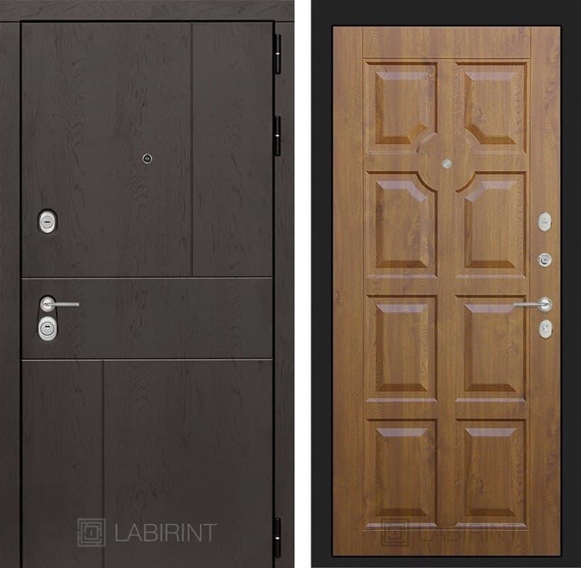 Входная металлическая дверь Лабиринт Урбан 17 (Дуб горький шоколад / Золотой дуб)