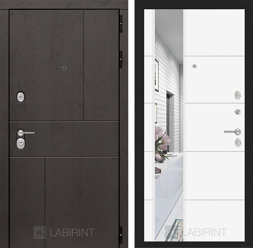 Входная металлическая дверь Лабиринт Урбан 19 Зеркало (Дуб горький шоколад / Белый софт)