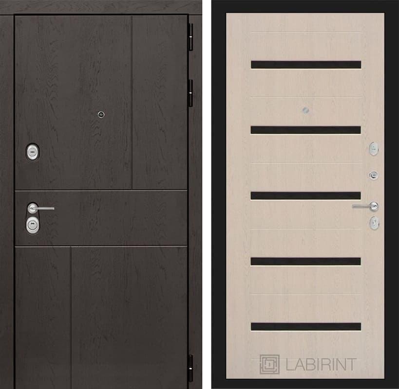 Входная металлическая дверь Лабиринт Урбан 1 (Дуб горький шоколад / Дуб беленый)