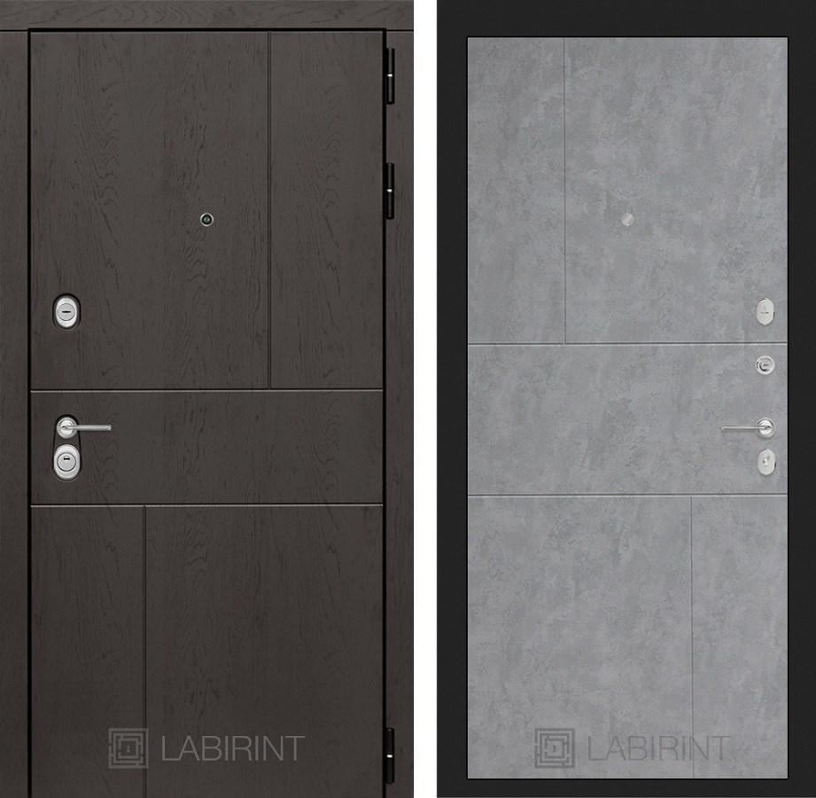 Входная металлическая дверь Лабиринт Урбан 21 (Дуб горький шоколад / Бетон светлый)