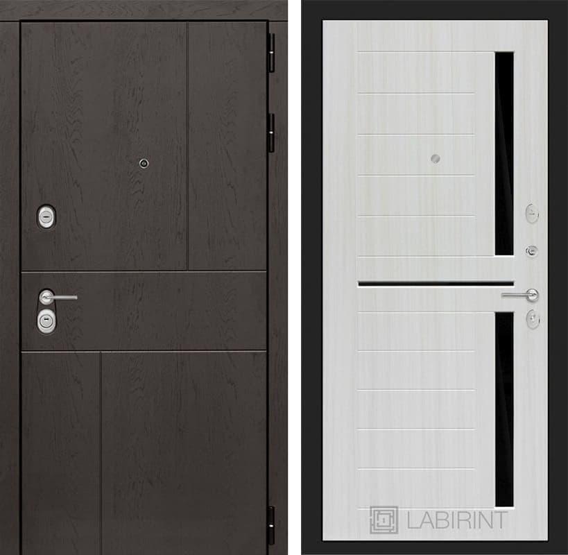 Входная металлическая дверь Лабиринт Урбан 2 (Дуб горький шоколад / Сандал белый)