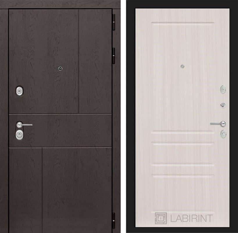 Входная металлическая дверь Лабиринт Урбан 3 (Дуб горький шоколад / Сандал белый)
