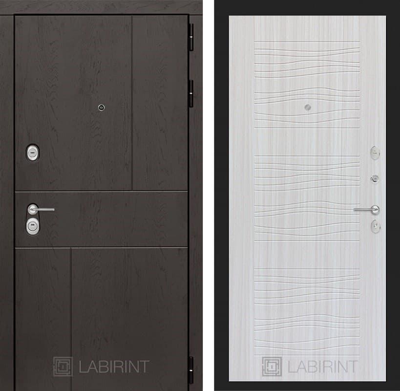 Входная металлическая дверь Лабиринт Урбан 6 (Дуб горький шоколад / Сандал белый)