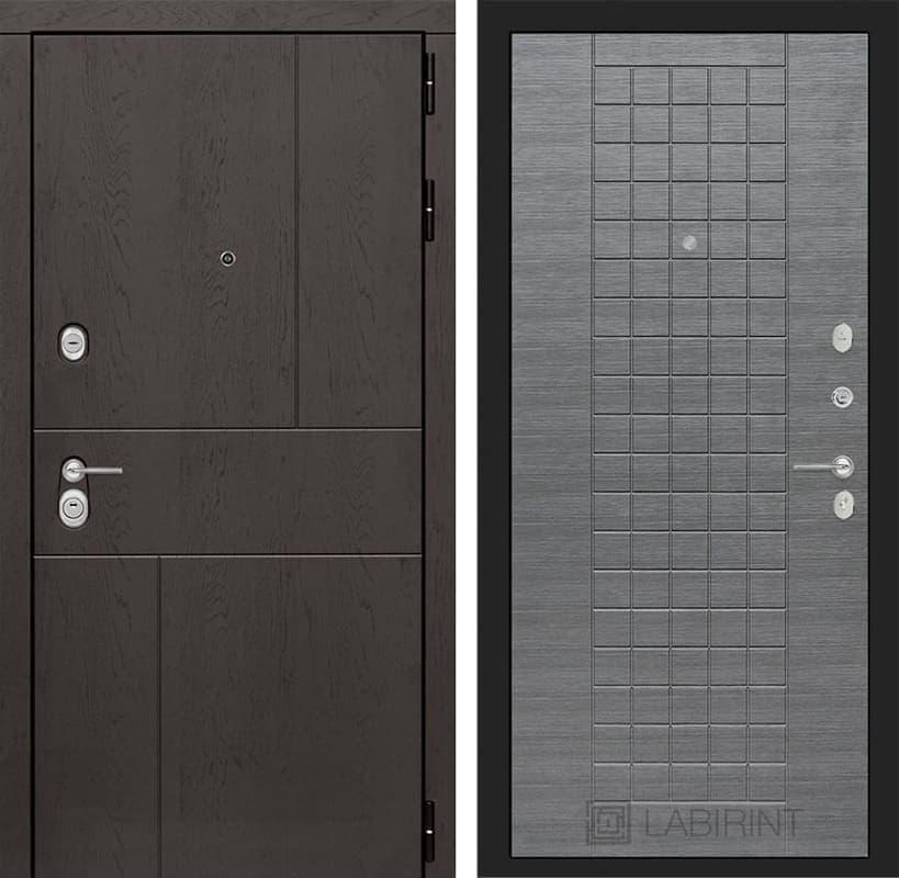 Входная металлическая дверь Лабиринт Урбан 9 (Дуб горький шоколад / Лен сильвер грей)