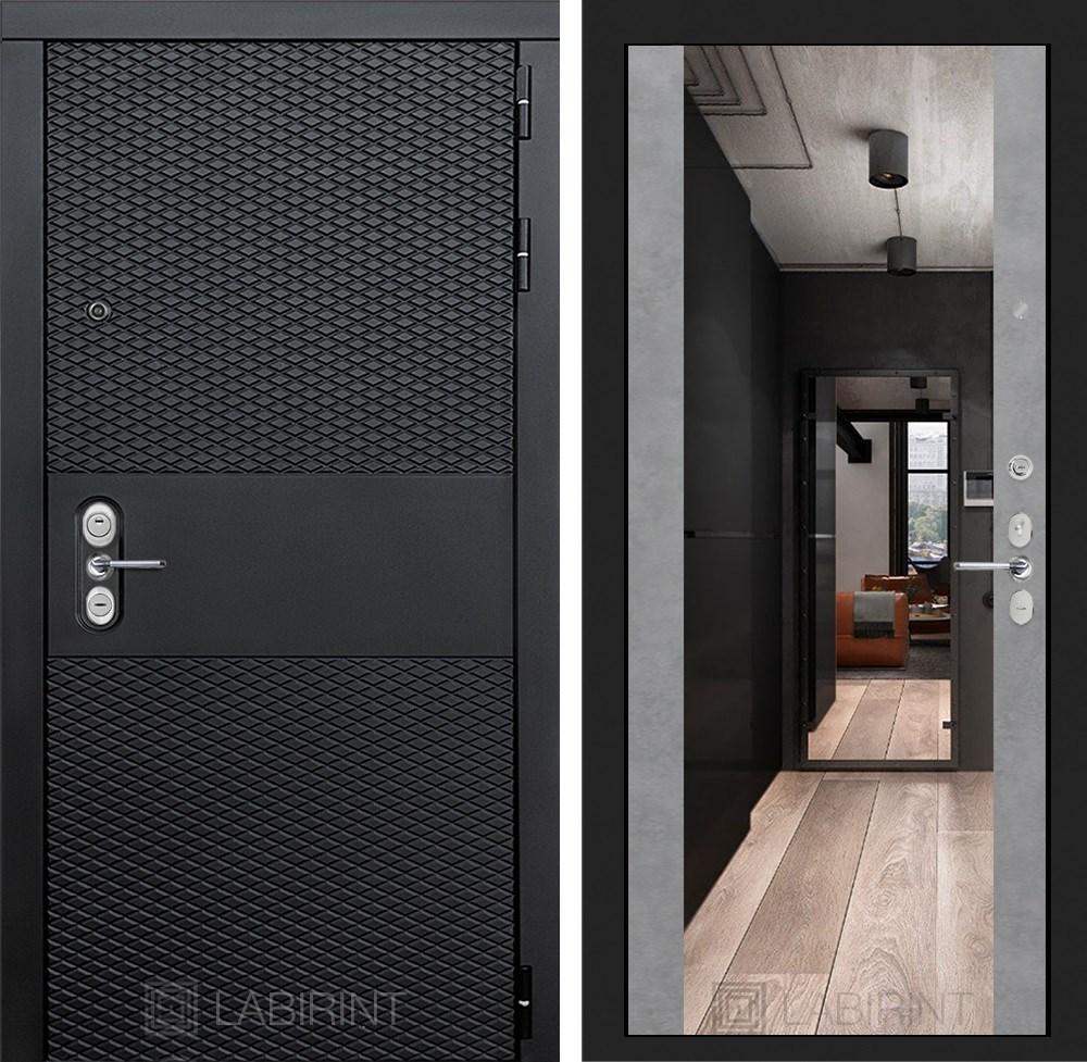 Входная металлическая дверь Лабиринт Black Зеркало Максимум (Чёрный кварц / Бетон светлый)