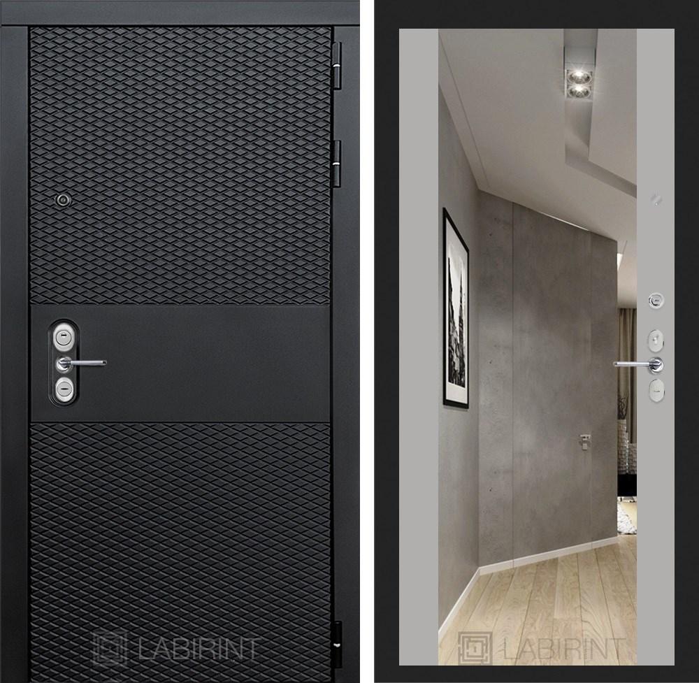 Входная металлическая дверь Лабиринт Black Зеркало Максимум (Чёрный кварц / Софт Грей)