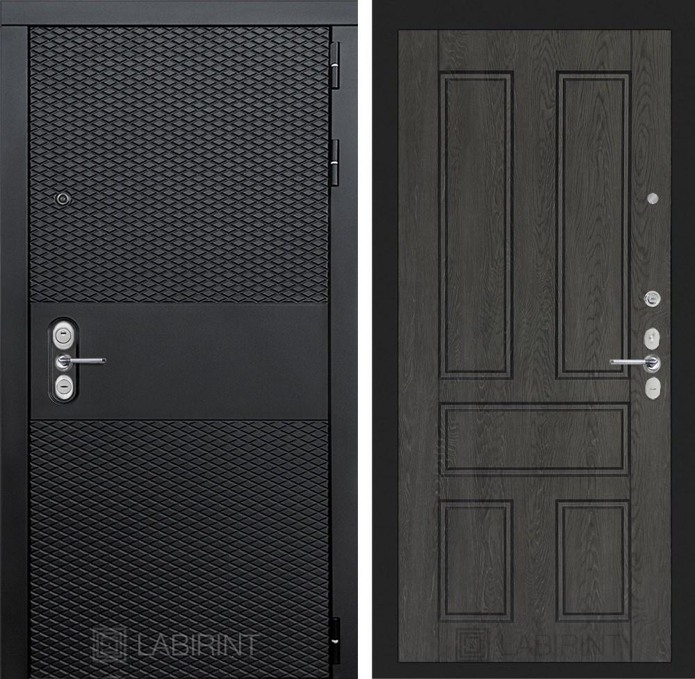 Входная металлическая дверь Лабиринт Black 10 (Чёрный кварц / Дуб филадельфия графит)
