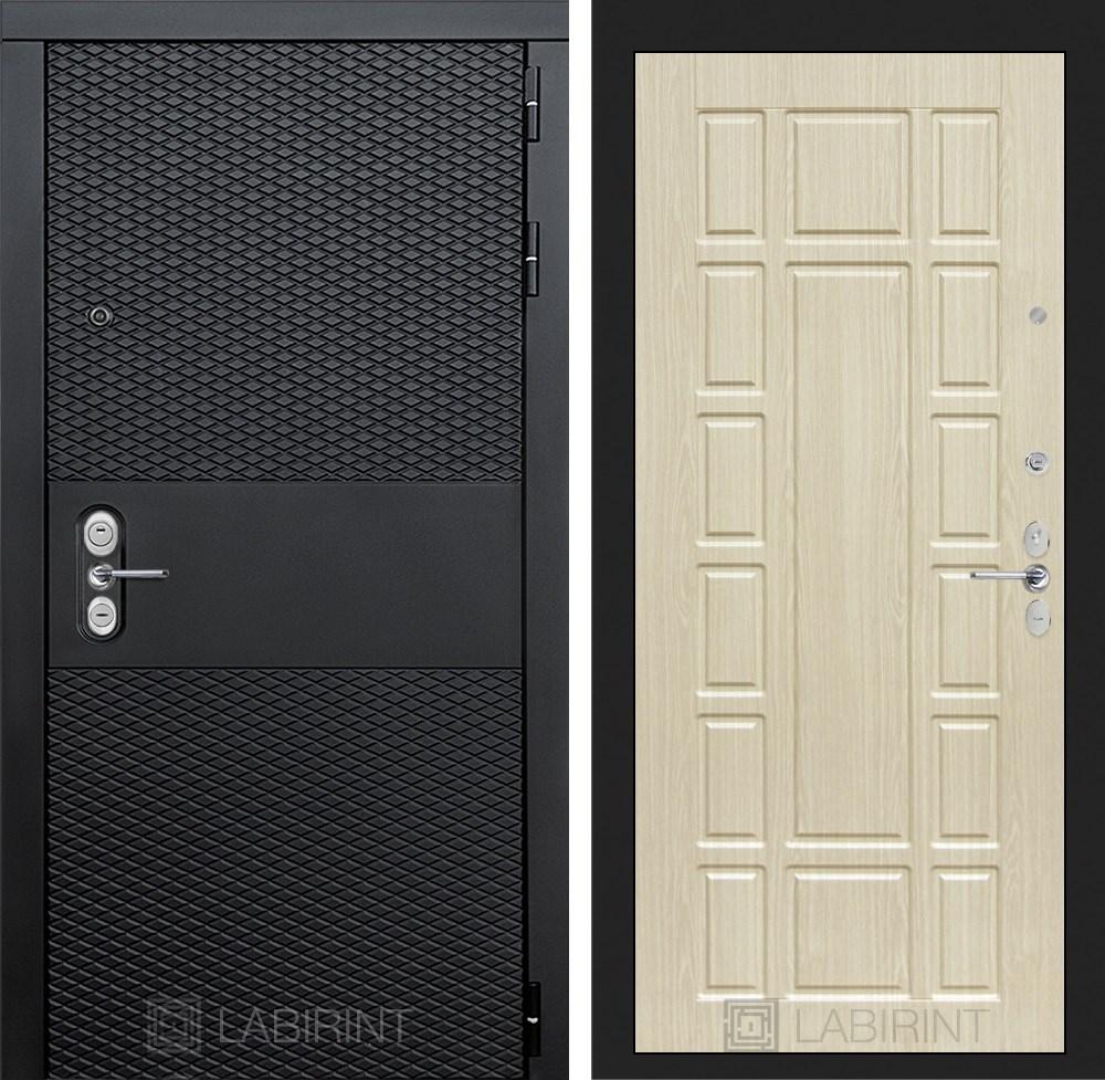 Входная металлическая дверь Лабиринт Black 12 (Чёрный кварц / Дуб белёный)