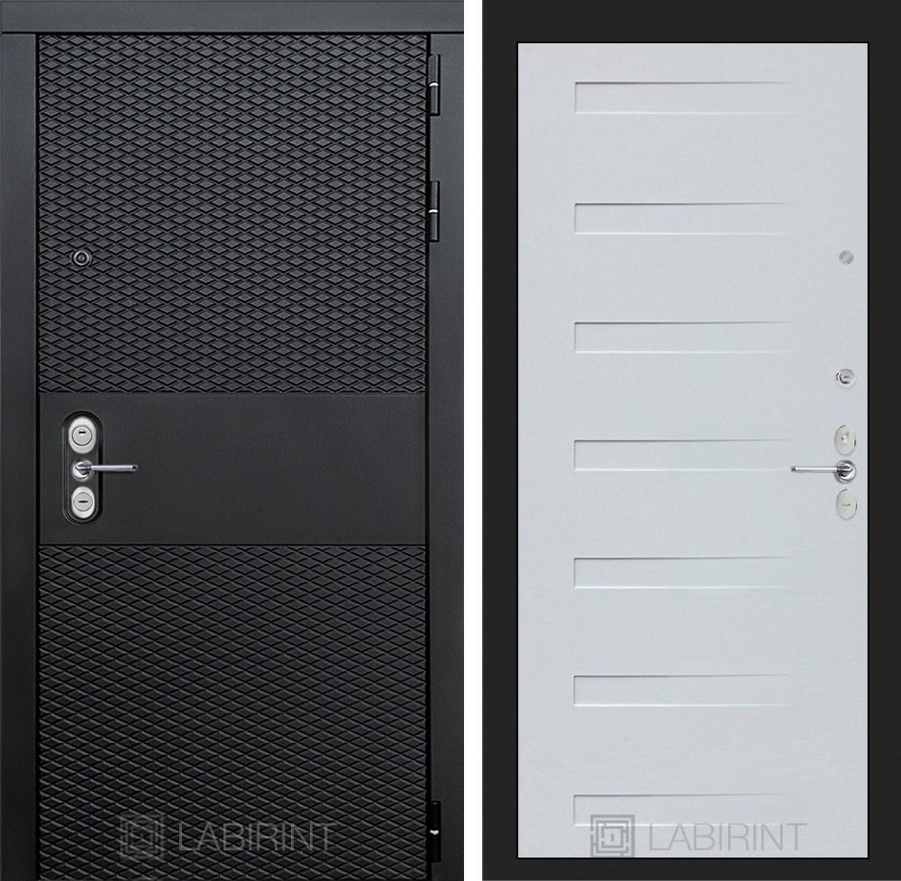 Входная металлическая дверь Лабиринт Black 14 (Чёрный кварц / Дуб кантри белый)