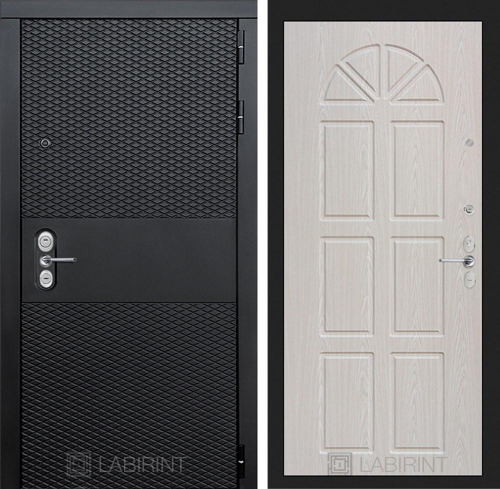Входная металлическая дверь Лабиринт Black 15 (Чёрный кварц / Алмон 25)