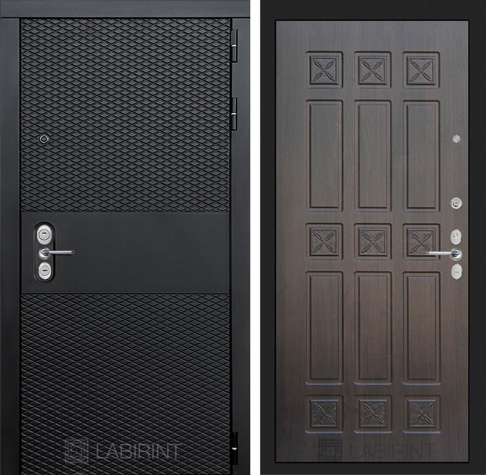 Входная металлическая дверь Лабиринт Black 16 (Чёрный кварц / Алмон 28)
