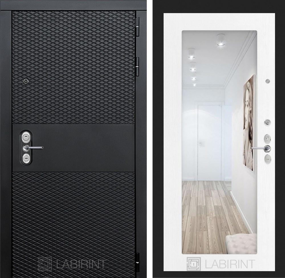 Входная металлическая дверь Лабиринт Black 18 Зеркало (Чёрный кварц / Белое дерево)