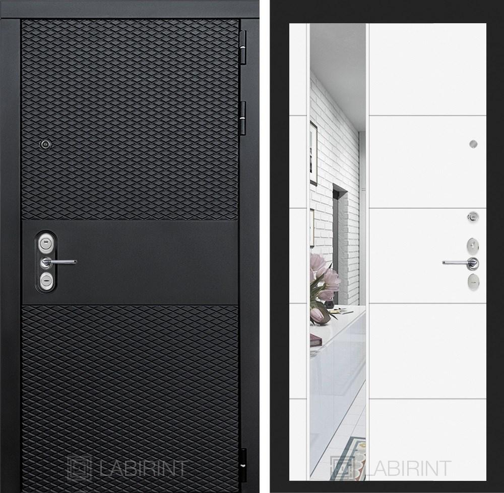Входная металлическая дверь Лабиринт Black 19 Зеркало (Чёрный кварц / Белый софт)