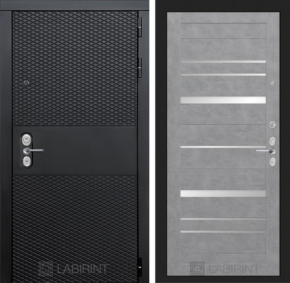 Входная металлическая дверь Лабиринт Black 20 (Чёрный кварц / Бетон светлый)