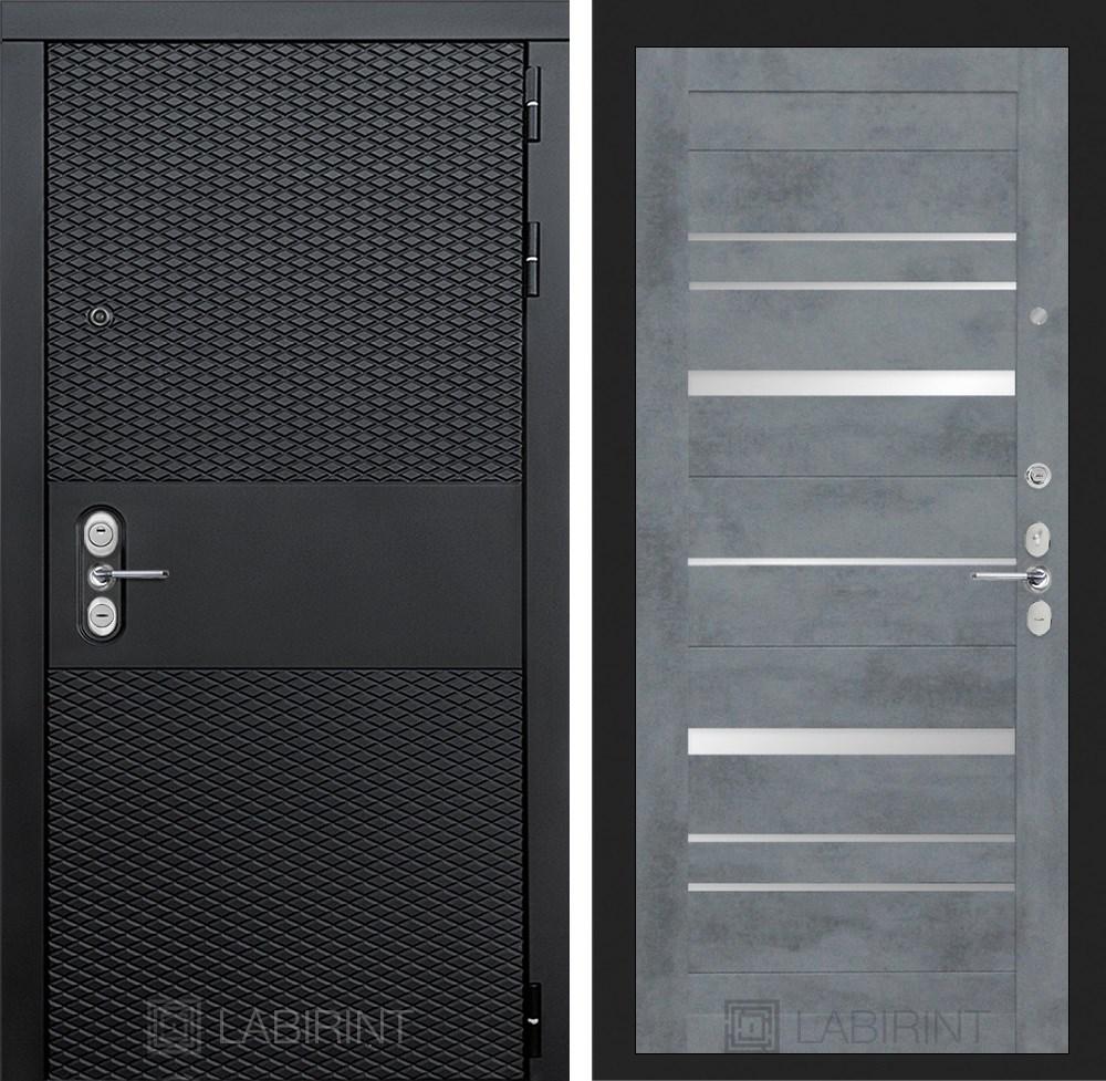 Входная металлическая дверь Лабиринт Black 20 (Чёрный кварц / Бетон темный)