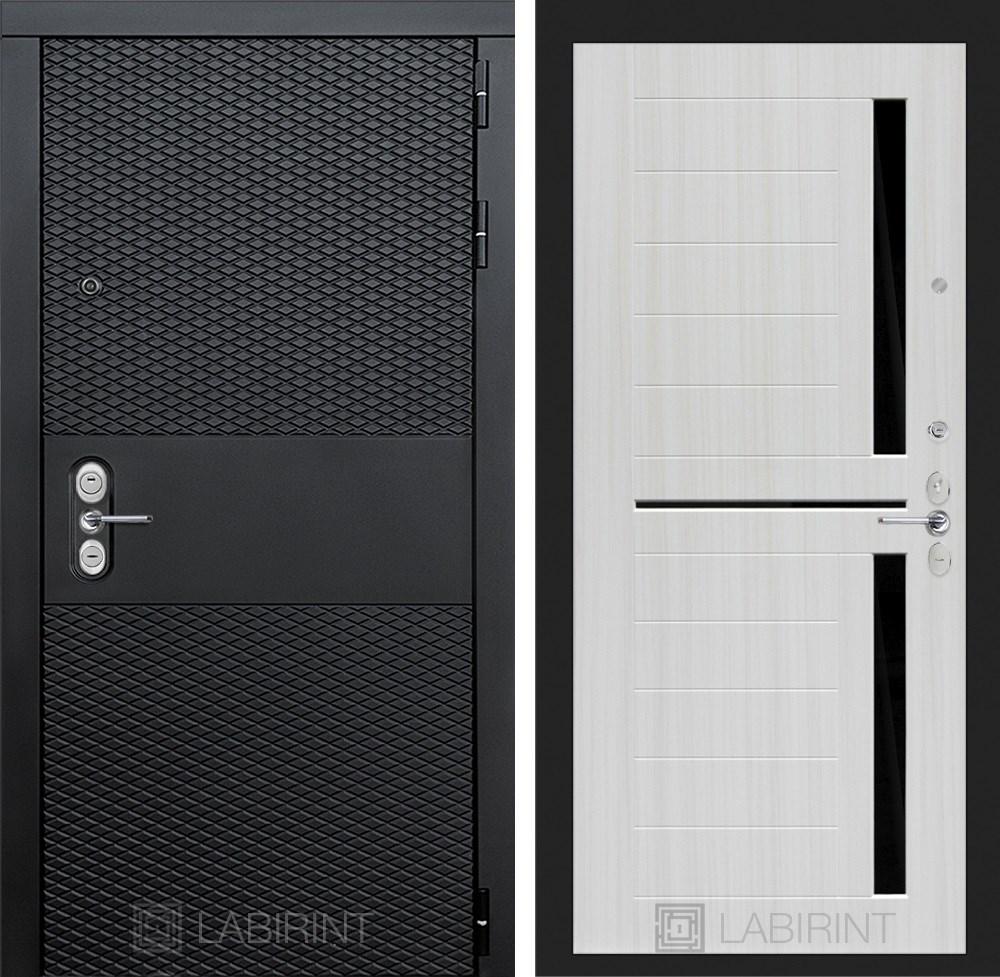 Входная металлическая дверь Лабиринт Black 2 (Чёрный кварц / Сандал белый)
