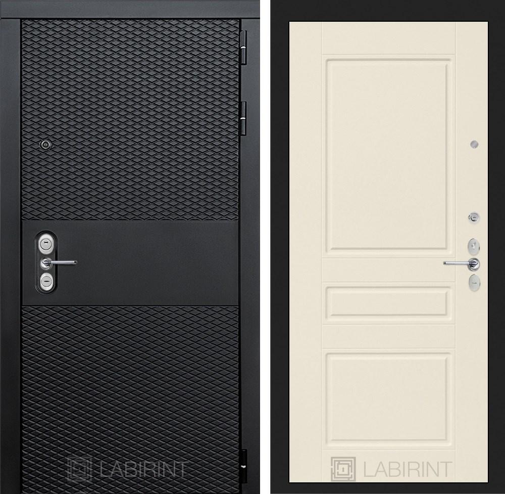 Входная металлическая дверь Лабиринт Black 3 (Чёрный кварц / Крем софт)