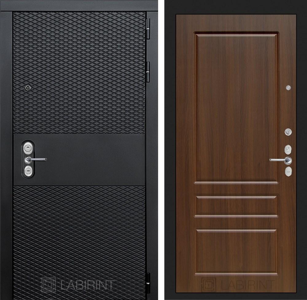 Входная металлическая дверь Лабиринт Black 3 (Чёрный кварц / Орех бренди)