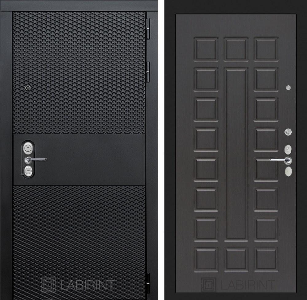 Входная металлическая дверь Лабиринт Black 4 (Чёрный кварц / Венге)
