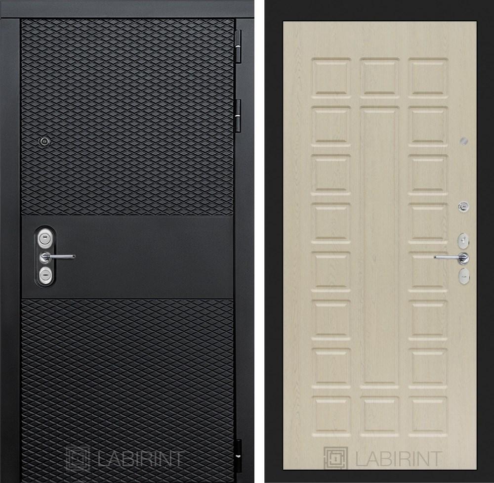 Входная металлическая дверь Лабиринт Black 4 (Чёрный кварц / Дуб белёный)
